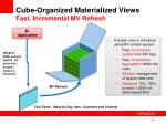 cube organized materialized views fast incremental mv refresh