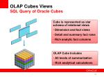 olap cubes views sql query of oracle cubes