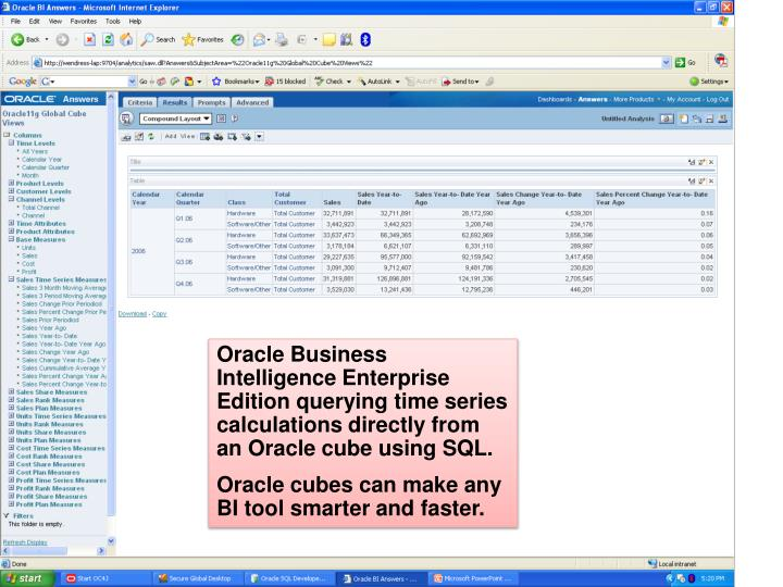 Oracle Business Intelligence Enterprise Edition querying time series calculations directly from an Oracle cube using SQL.