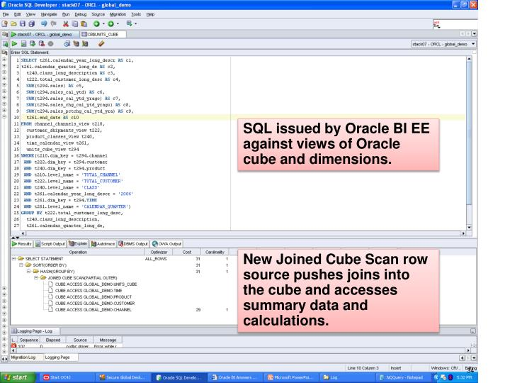 SQL issued by Oracle BI EE against views of Oracle cube and dimensions.