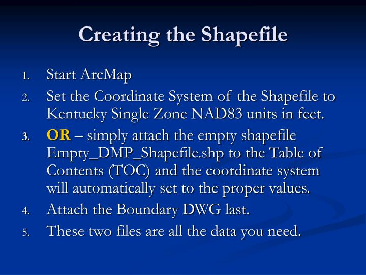 Creating the Shapefile