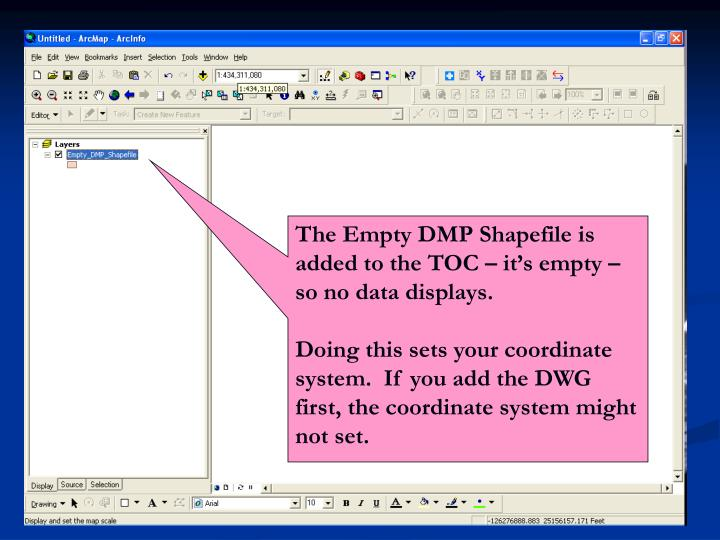 The Empty DMP Shapefile is added to the TOC – it's empty – so no data displays.