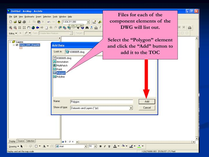 Files for each of the component elements of the DWG will list out.