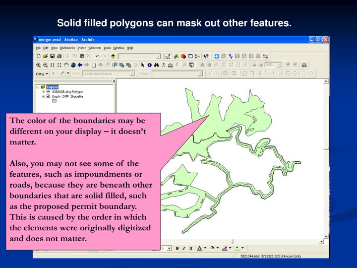 Solid filled polygons can mask out other features.