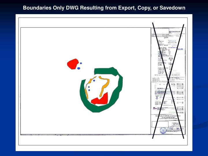 Boundaries Only DWG Resulting from Export, Copy, or Savedown