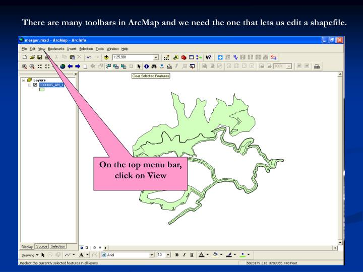 There are many toolbars in ArcMap and we need the one that lets us edit a shapefile.