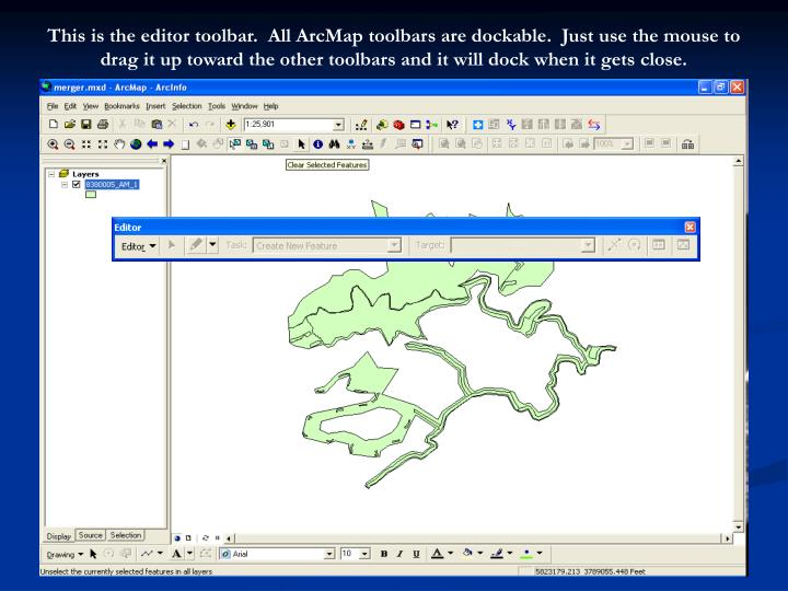 This is the editor toolbar.  All ArcMap toolbars are dockable.  Just use the mouse to drag it up toward the other toolbars and it will dock when it gets close.