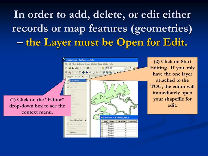 In order to add, delete, or edit either records or map features (geometries) –