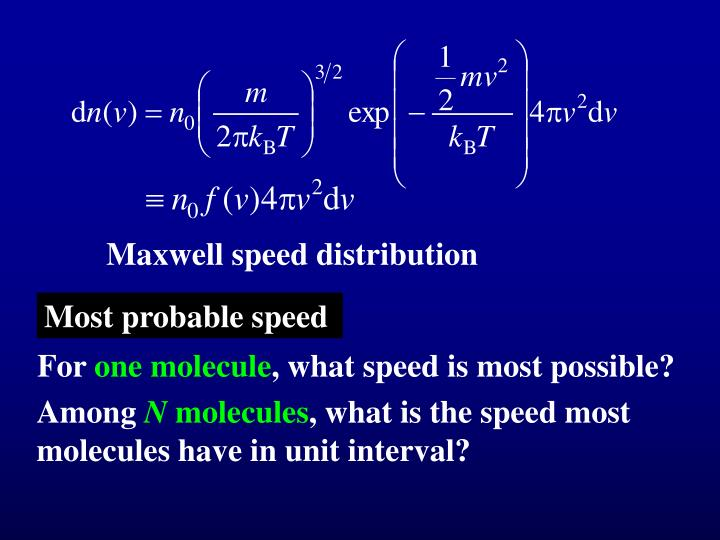 Maxwell speed distribution