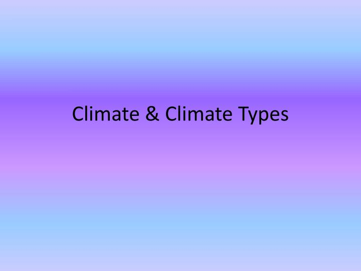 Climate climate types