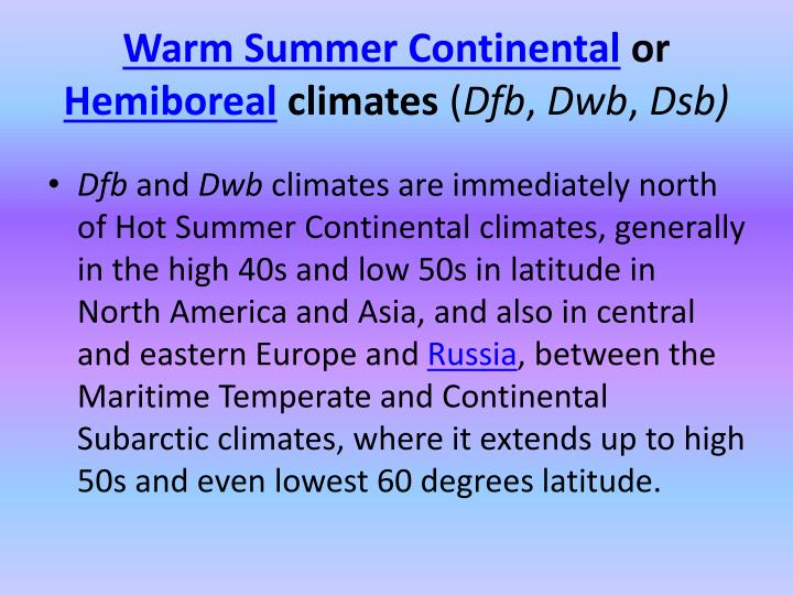 Warm Summer Continental