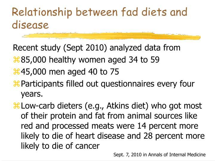 Relationship between fad diets and disease