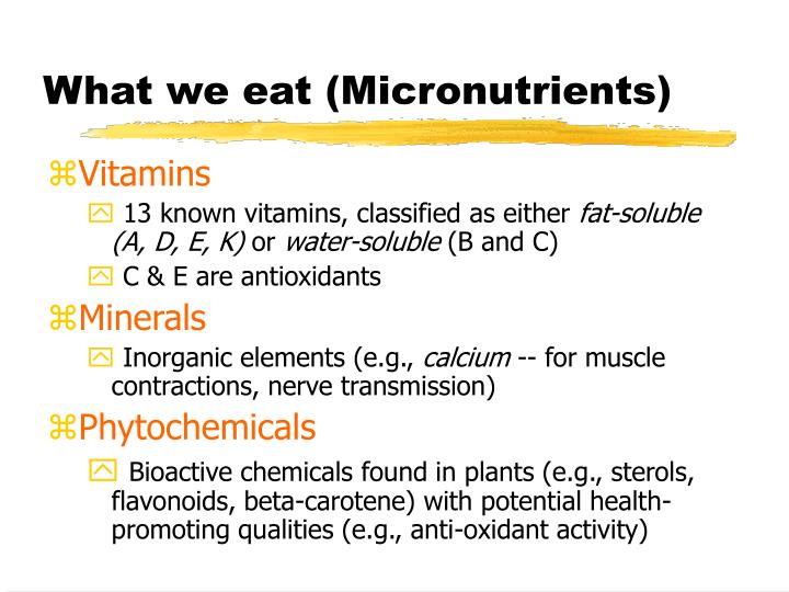 What we eat (Micronutrients)