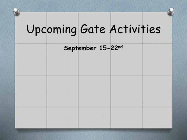 upcoming gate activities