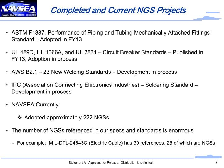 Completed and Current NGS Projects