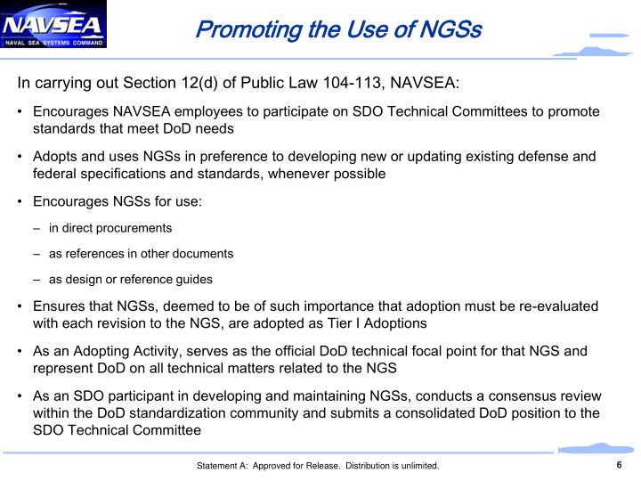 Promoting the Use of NGSs