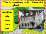 this is sometimes called savannah s ghost