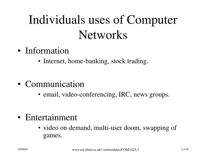 Individuals uses of Computer Networks