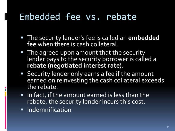 Embedded fee vs. rebate