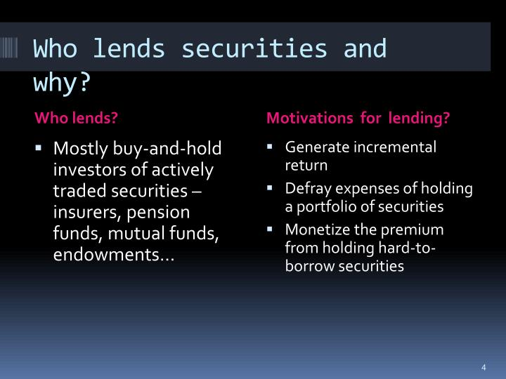 Who lends securities and why?