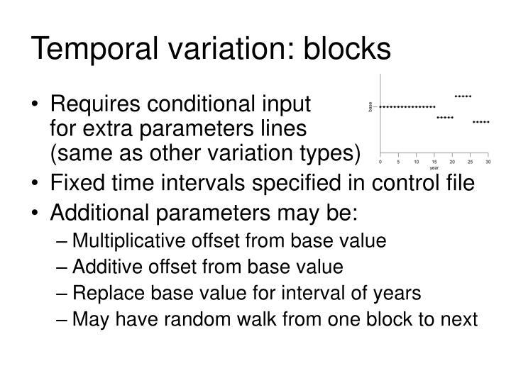 Temporal variation: blocks