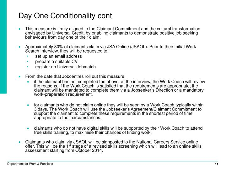 Day One Conditionality cont