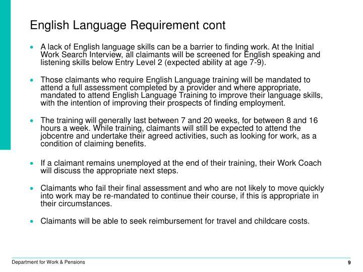 English Language Requirement cont