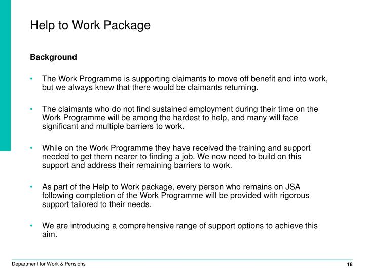 Help to Work Package