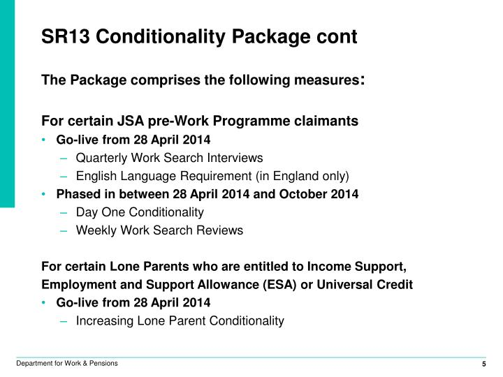 SR13 Conditionality Package cont