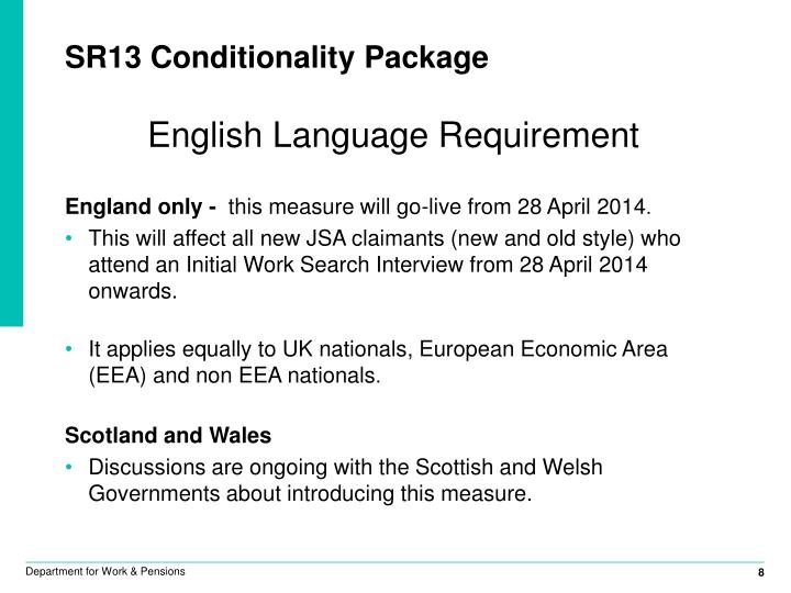 SR13 Conditionality Package