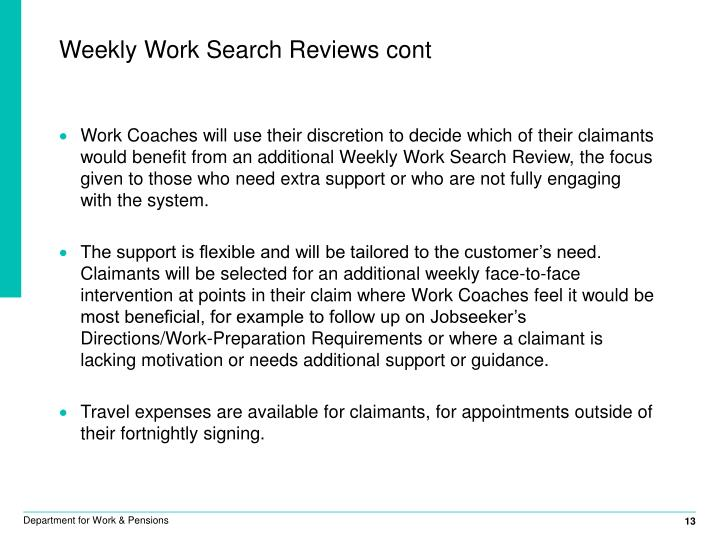 Weekly Work Search Reviews cont