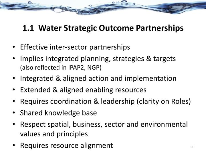 1.1  Water Strategic Outcome Partnerships