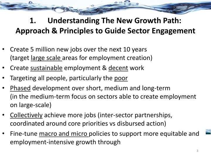 1 understanding the new growth path approach principles to guide sector engagement