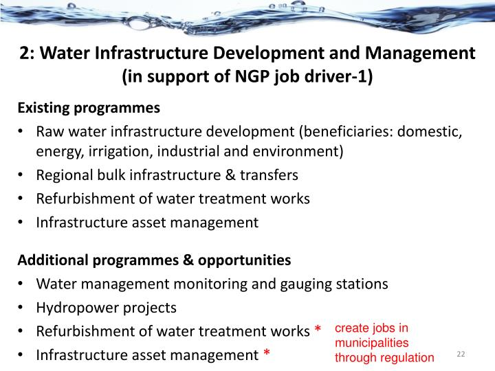 2: Water Infrastructure Development and Management