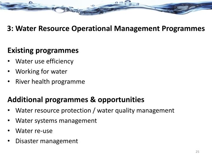 3: Water Resource Operational Management Programmes