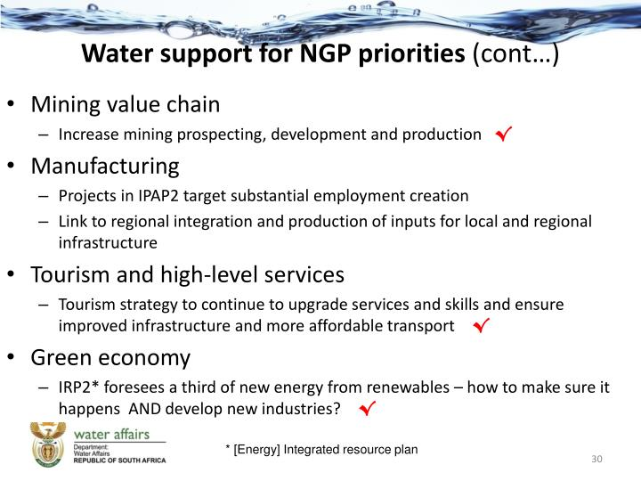 Water support for NGP priorities