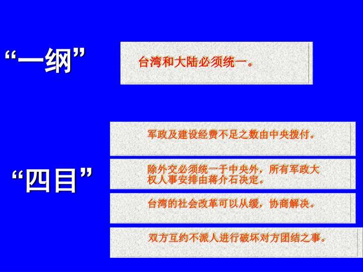 台湾和大陆必须统一。