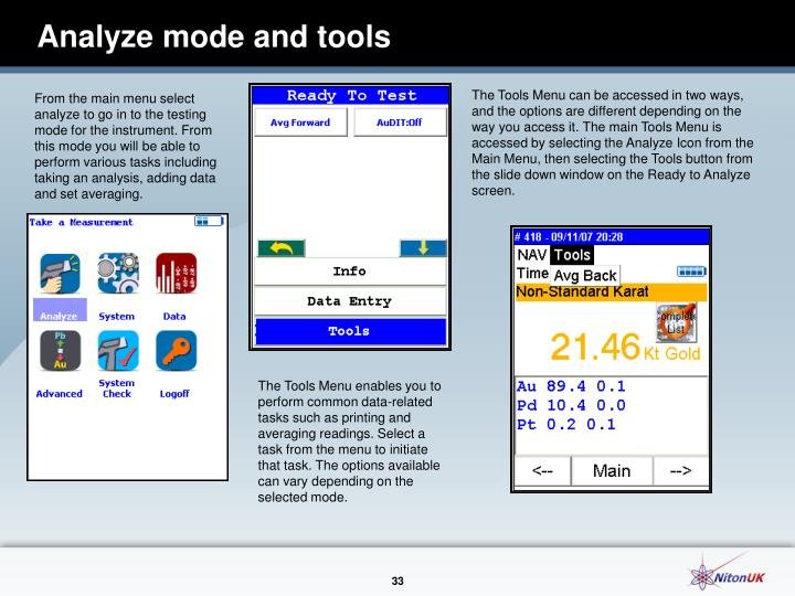 Analyze mode and tools