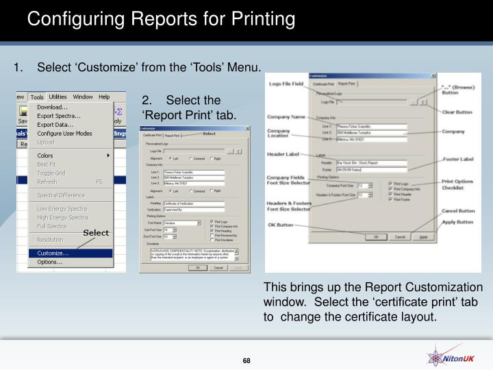 Configuring Reports for Printing
