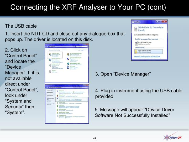 Connecting the XRF Analyser to Your