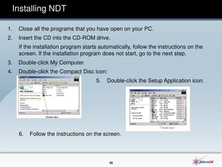 Installing NDT