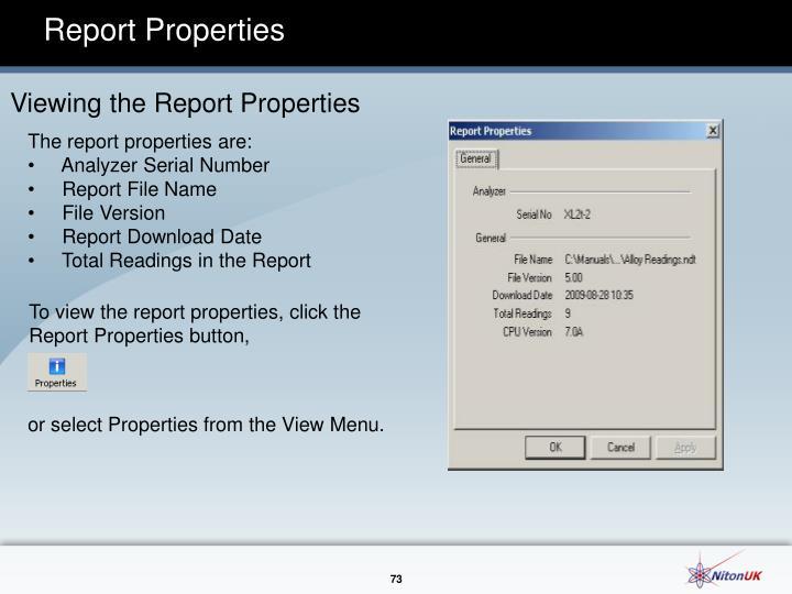 Report Properties