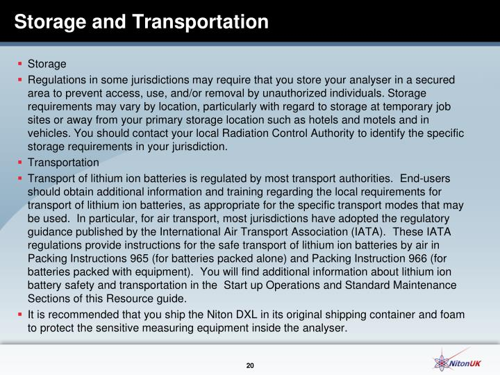 Storage and Transportation