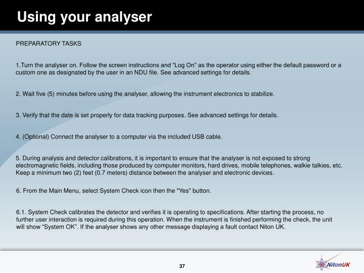 Using your analyser