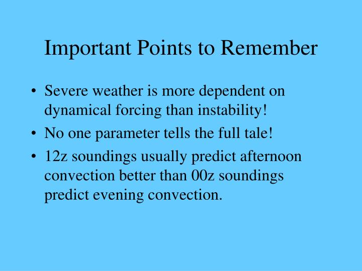 Important Points to Remember