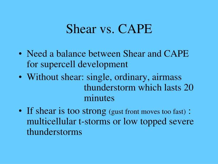 Shear vs. CAPE