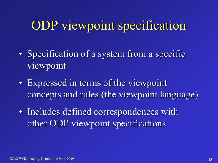 ODP viewpoint specification