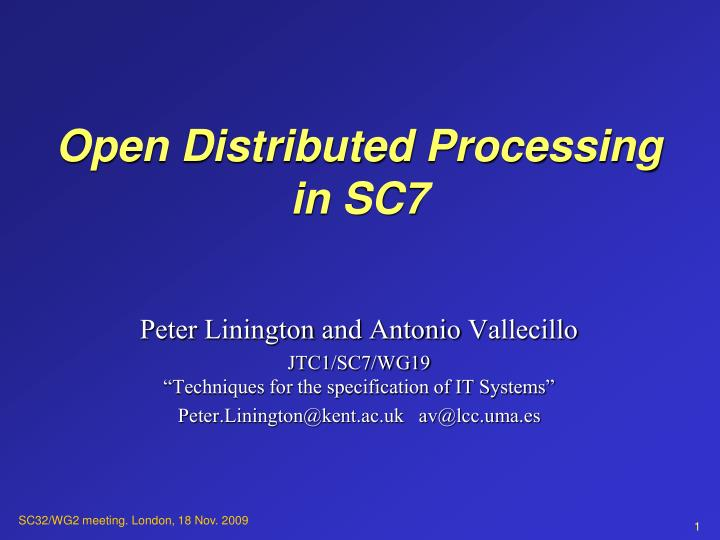 Open distributed processing in sc7