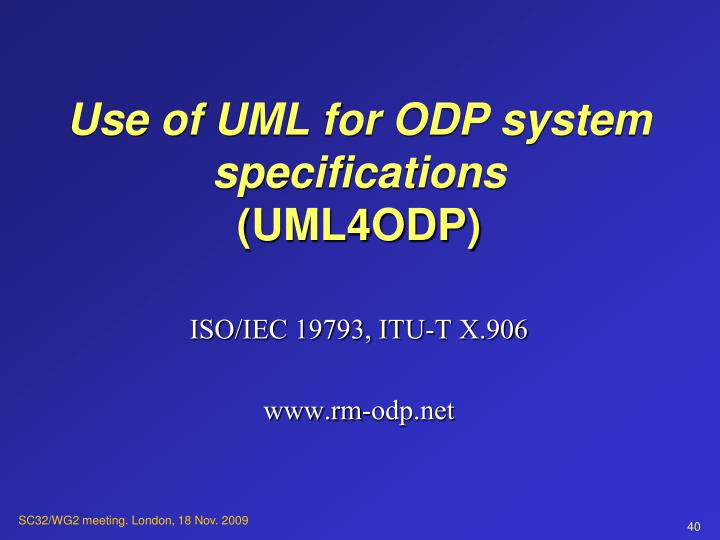 Use of UML for ODP system specifications