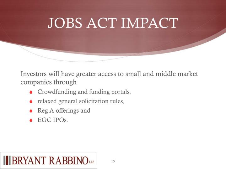 JOBS ACT IMPACT